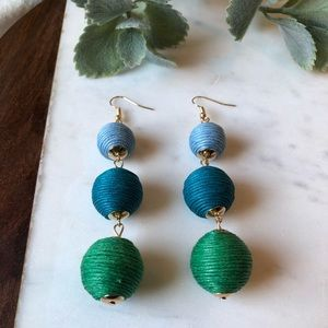 The Molly - Blue/Green 3-Drop Statement Earring